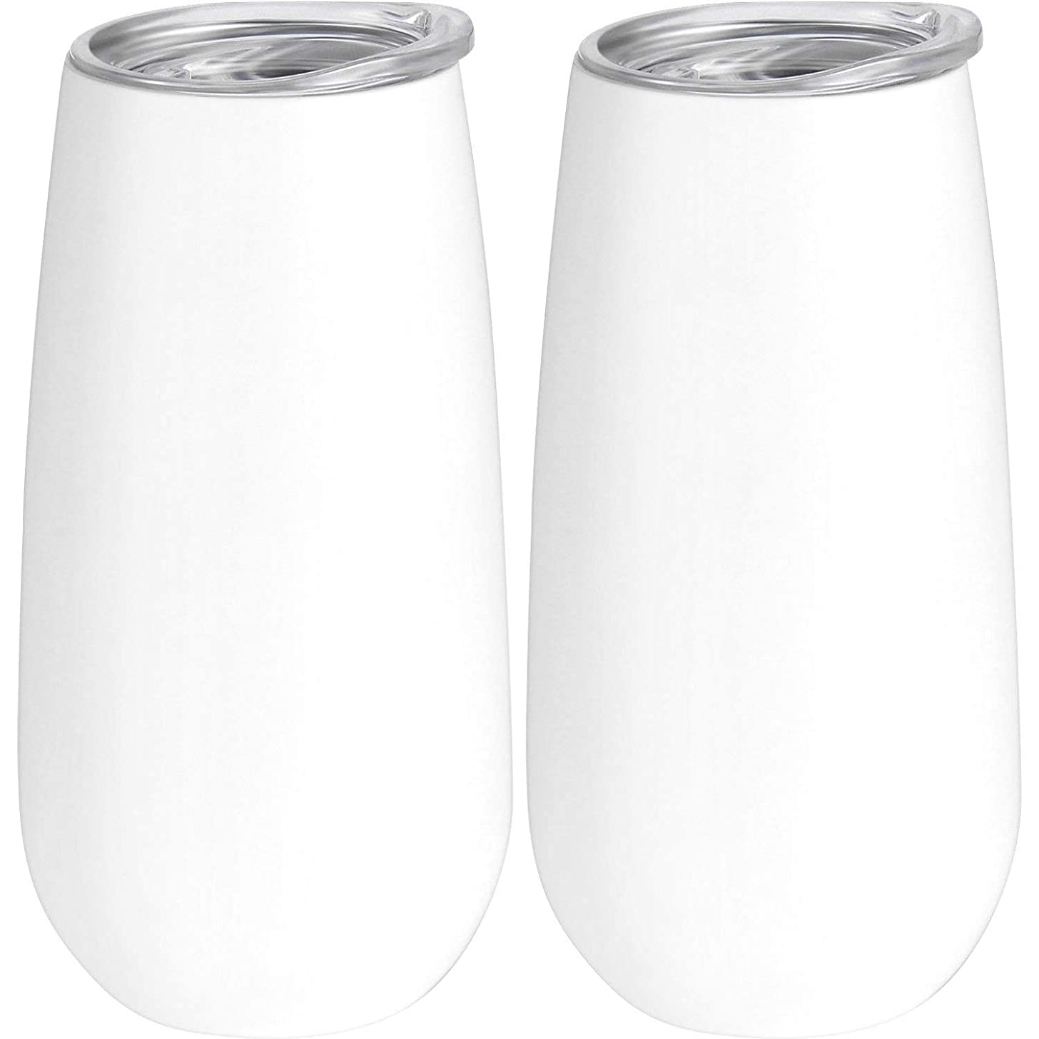 Skylety 2 Packs Double-insulated Stemless Champagne Flutes Wine Tumbler, 6 OZ Unbreakable Cocktail Cups Reusable Champagne Toasting Glasses with Lids (White)