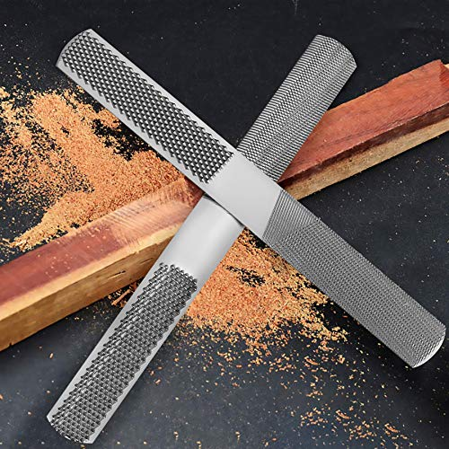 4 Way Wood Rasp File, Premium Grade High Carbon Hand File and Round Rasp, Half Round Flat & Needle Files. Best Wood Rasp Set for Sharping Wood and Metal Tools (2 Pack)
