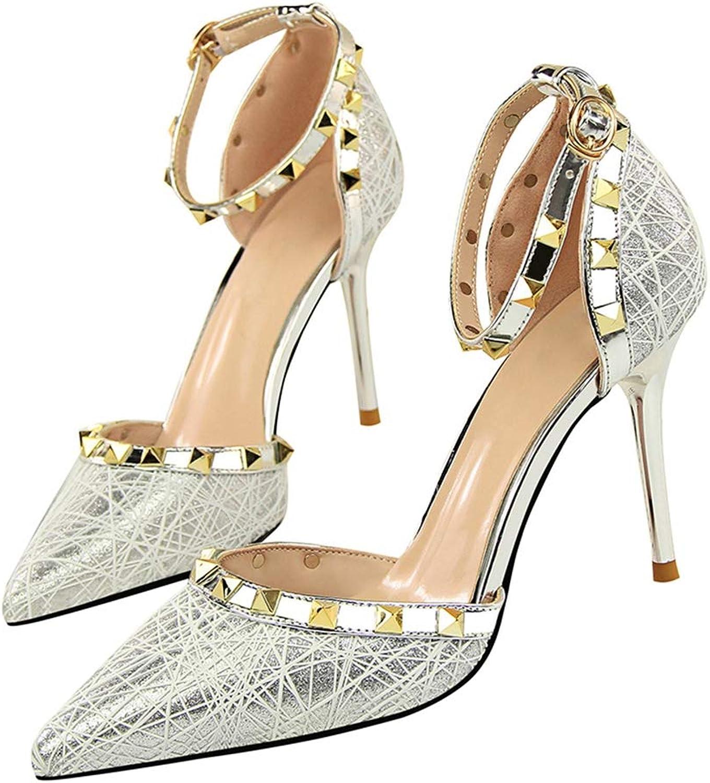 SaraIris Women's Pointed Toe Rivets Buckle Strap Thin High Heel Pumps shoes