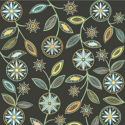 Caltero Floral Wallpaper 17.7' x 118' Multicolor Floral Peel and Stick Wallpaper Floral Contact Paper Perennial Blooms Wallpaper Vinyl for Room Cabinet Countertop Backsplash
