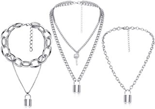 Hicarer 3 Pieces Lock Key Pendant Necklace Long Punk Chain Multilayer Chain for Women Girls