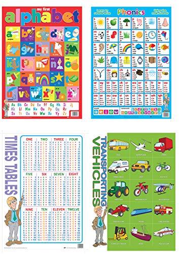 Fesselnde Bildungsposter & bunte Wandtafeln für Kinder - 20er Set verschiedene Klassenposter für Kinder - Schulposter laminiert von MFY