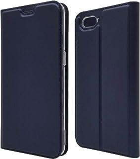 TRkin Oppo R15 Neo カバー ケース スタンド機能 Oppo R15 Neo 横開き 軽量 薄型 耐衝撃 高級 PUレザー 折り畳み式 Oppo R15 Neo 手帳型ケース 全面保護カバー カード収納 (Oppo R15 Neo, ブルー)