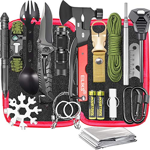 Gifts for Men Dad Husband, Survival Gear and Equipment Kit 20 in 1, Emergency Escape Tool with Axe,...