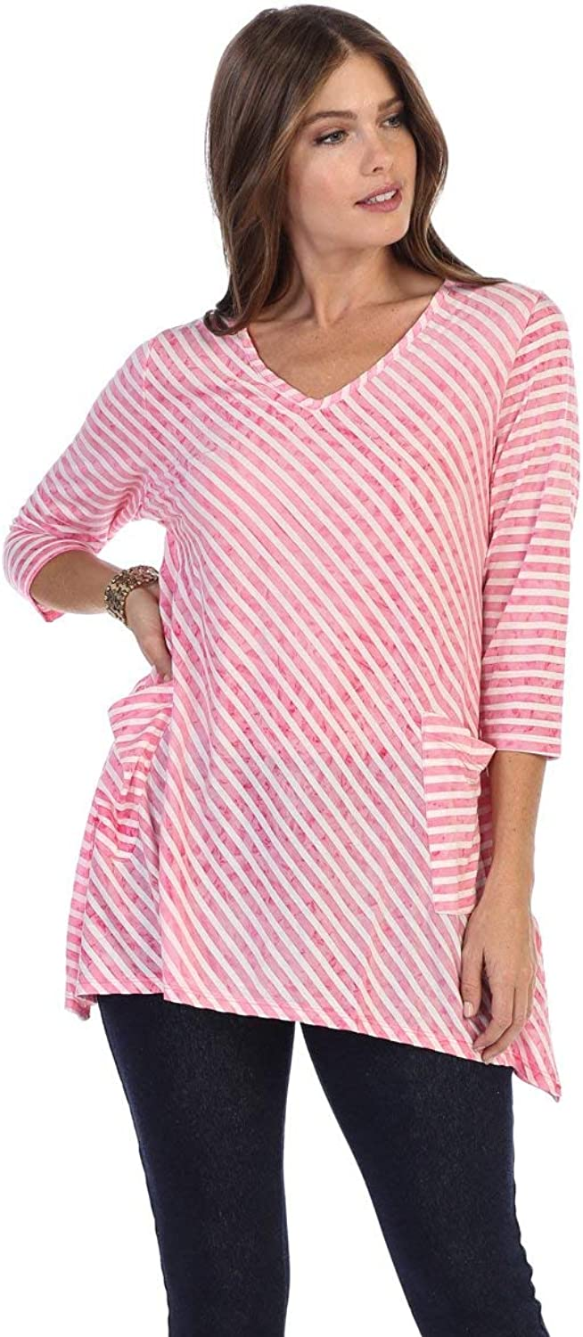 Fashion Focus Shark Bite Striped Loose Fit Two Pocket Tunic Top