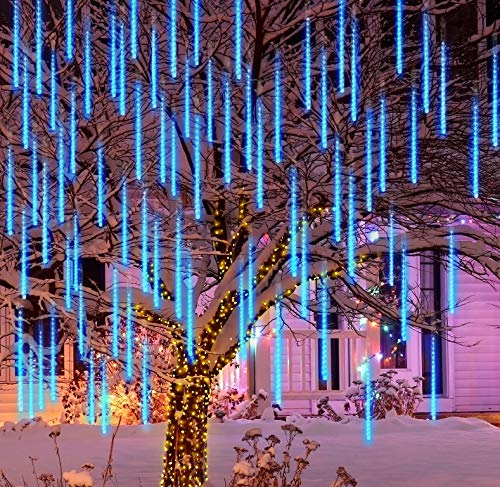 Joiedomi 2 Packs Christmas Meteor Shower Lights Falling Rain Drop Icicle String Lights 240 LEDs 8 Tube 30cm/12inch Blue for Christmas Holiday Party Home Patio Outdoor Decoration