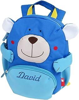 62cac95f07 Sigikid Kinder-Rucksack mit Namen bestickt Bär blau 26 cm x 22 cm x 14