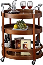 Oval Classical Serving Cart with 4 Wine Trough,Solid Wood Trolley Cart,Brake,3-Tier,73×46×86 cm, Suitable for Home,Office,Hotel,Kitchen,Bar