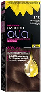 Garnier Olia, No Ammonia Permanent Hair Color With 60% Oils, 6.15 Frozen Light Brown
