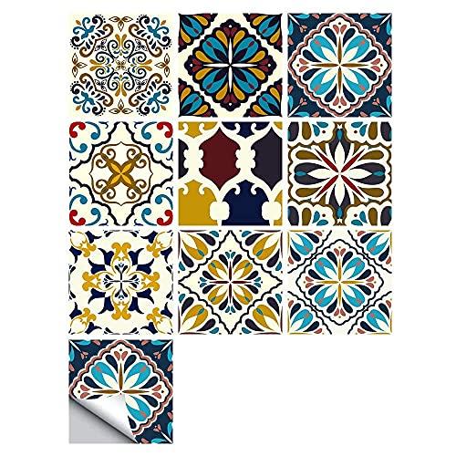 Hesily Pegatinas para Azulejos, Autoadhesivas, Impermeables, marroquíes, para Cocina, baño, Suelo, azulejo, Pegatina para Azulejos, Transferencia de Azulejos de Mosaico para decoración del hogar