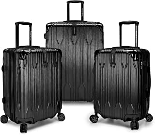 Traveler's Choice TC09035K Bell Weather Expandable 3 Piece Spinner Luggage Set44; Black