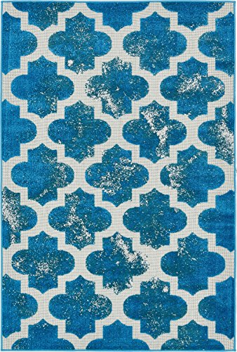 A2Z Rug Indoor/Outdoor Rug Turquoise 4' x 6' -Feet Transitional Collection Area Rugs - Perfect for Outdoor Carpet