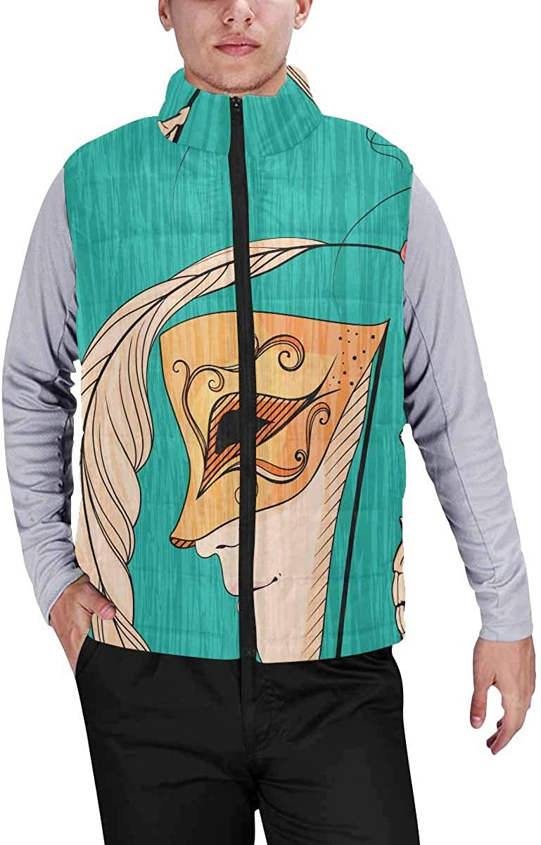 InterestPrint Men's Lightweight Sleeveless Jacket for Travel Hiking Running Ice Cream