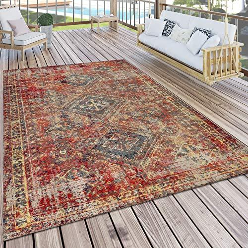 Paco Home Teppich Outdoor Rot Terrasse Balkon Orientalisches Design Robust Wetterfest, Grösse:120x170 cm