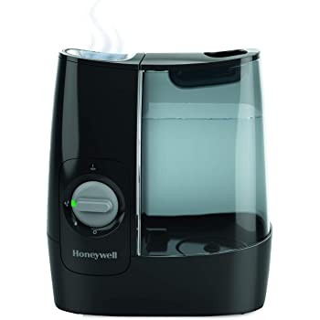 Honeywell HWM845BC Soothing Comfort Warm Mist Humidifier, Black, with Essential Oil Cup, Auto Shut-Off, Wide Tank Opening.