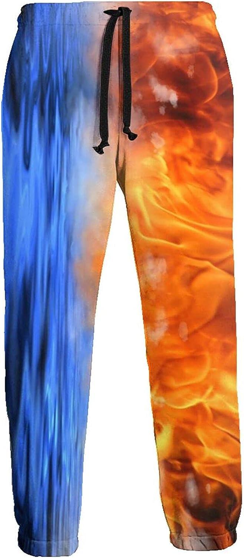 Men's Jogger Sweatpants Fire Water 3D Loose Joggers Pants with Drawstring Long Pants