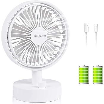 Blueekin 自動首振り 卓上扇風機 超静音 小型 USB扇風機 充電式 ミニ扇風機 7枚羽根 超強風 4000mAh大容量バッテリー 長時間連続使用 省エネ おしゃれ (ホワイト)