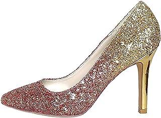 Creativesugar Gradient Color High Heels, 3D Glitter Silver Gold Blue Hotpink Dress Shoes Pointed Toe Woman Pumps