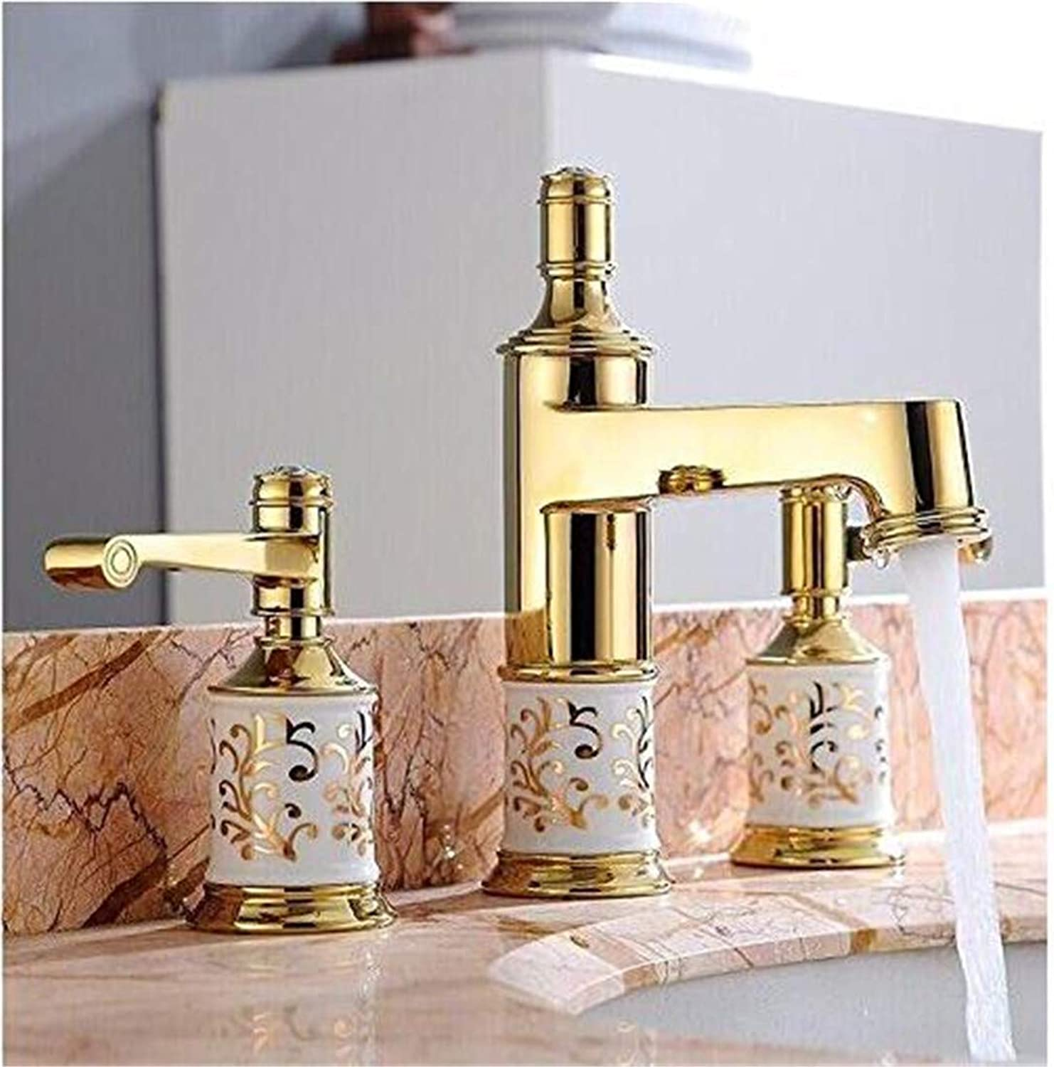 Chrome Kitchen Sink Tapbathroom Faucet 3 Holes Double Handle pink golden Basin Sink Water Taps Solid Brass in The Bathroom Products