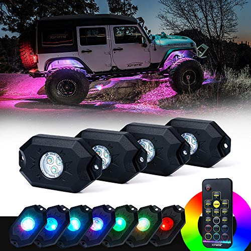 Xprite 4PCs LED RGB Rock Light Kit with Wireless Remote Control, Flashing, Auto Scroll Modes, Multicolor Neon Lights Pod for Underglow Off Road, Truck, JEEP, UTV, ATV, SUV