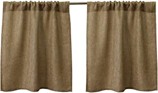 Valea Home Burlap Tier Curtains for Kitchen Rustic Tan Rod Pocket Curtains for Short Window 24 inch Linen Cafe Curtains, Set of 2