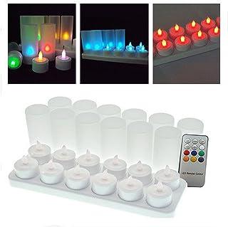 LEDティーライト キャンドル 再充電可能 リモコン付 カップ付き 照明モード切替 12個セット  (リモコン付, マルチカラー)