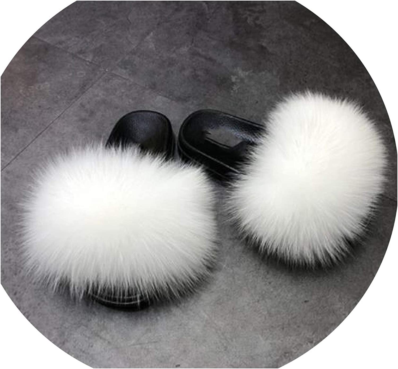 BEST WISH-slippers Real Fox Fur Slipper Women Slides Sliders Spring Summer Autumn Fluffy Fur Lady PVC Sole