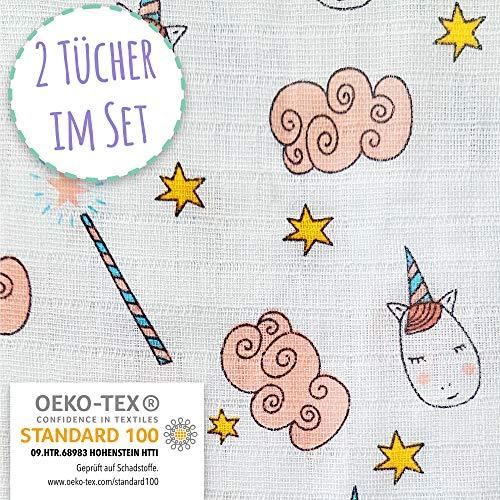 Baby Pucktuch 2er Set - Swaddle Blanket aus OEKO TEX zertifizierter Baumwolle -Musselin Puckdecke mit Einhörnern -ideal als Baby-decke, Stilltuch, Spucktuch, 2 Stück (120x120 cm + 75x75 cm)