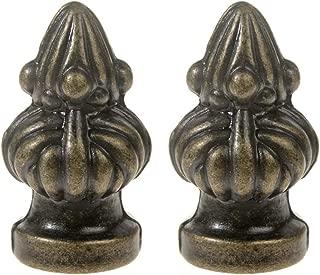 Saim Lamp Finials Decorative Lighting Accessories Bronze Metal Cap Knob Lamp Shade Finial Decoration Dual Thread 1-3/8 inch High, Pack of 2