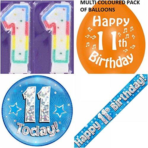 Partyset zum 11. Geburtstag für Jungen Set für 11-jährige Jungen, mit Banner, Luftballons, Kerze, Abzeichen