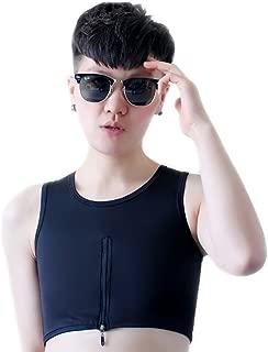 BaronHong Tomboy Trans Lesbian Middle Zipper Bamboo Charcoal Fiber Chest Binder Corset Plus Size Short Tank Top
