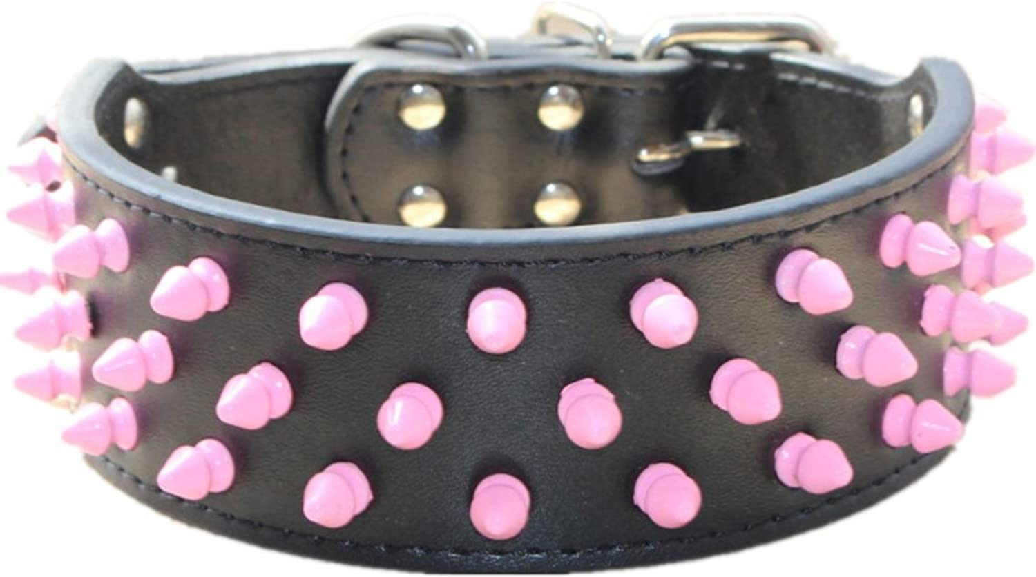 Haoyueer 2 inch Wide Leather Dog Collars Cool Pink Spiked Studded Pet Dog Collar for Medium Large Dogs Pit Bull Mastiff Bully Boxer(Black,L)