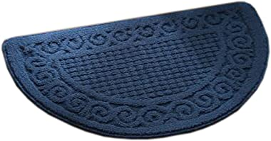 Retro Household Outdoor/Indoor Doormats Antiskid Entrance Mat Bathroom Carpet Semicircle, Dark Blue