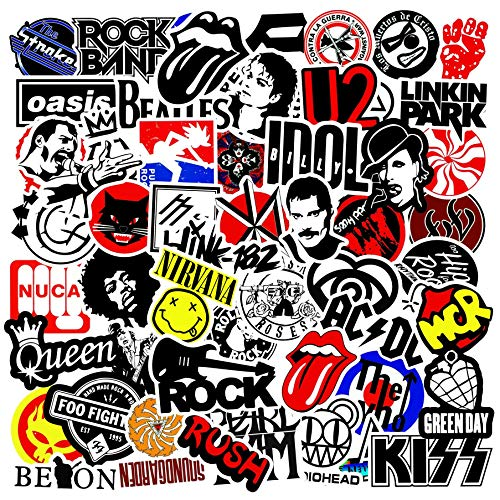 Rock Rock Band Pegatina Dibujos Animados Doodle Mano Cuenta Palanca Caja Casco Motocicleta Impermeable 100 Piezas