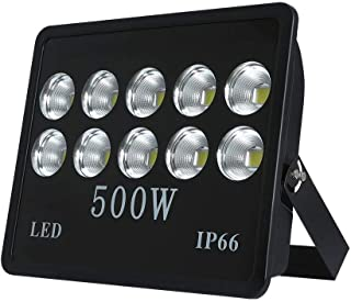 WEDO 500W LED Flood Light, Ultra Bright 50000Lm, 60 Degrees Angle Reflector, Outdoor Waterproof IP66 Security Lighting for Landscape, Garage, Billboards, Daylight White 6500K (No Plug)