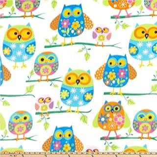 Baum Textiles Winter Fleece Owls Multi Fabric By The Yard, Multicolor