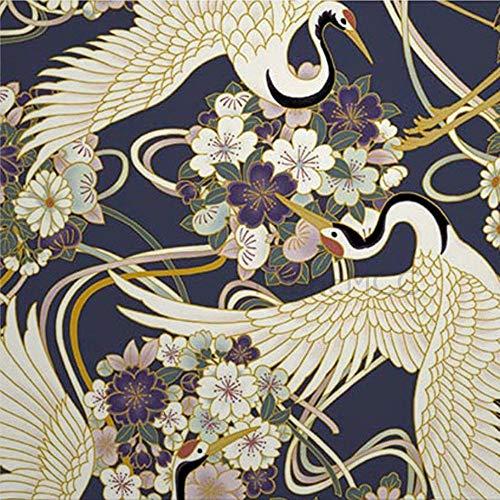 Juego de pegatinas decorativas para azulejos, diseño de flores japonesas, color azul oscuro, 10,6 x 10,1 cm, 12 unidades de vinilo impermeable para decoración del hogar