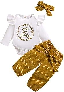FYMNSI Tenue de Vêtements pour Bébé Nouveau-né Filles Ete Ensemble, Body Barboteuse et Pantalon Imprimé Fleur et Bandeau ...