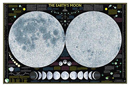 Póster de la luna de la tierra, tipo de mapa: estándar (71 x 106 cm) (Cocina)