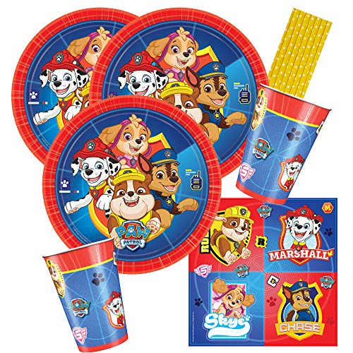 Amscan/Hobbyfun 40-teiliges Party-Set Paw Patrol - Teller Becher Servietten Trinkhalme für 8 Kinder