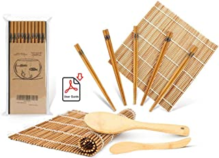 Sushi Making Kit, Delamu Bamboo Sushi Mat, Including 2 Sushi Rolling Mats, 5 Pairs of Chopsticks, 1 Paddle, 1 Spreader, 1 ...