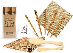 Sushi Making Kit, Bamboo Sushi Mat, Including 2 Sushi Rolling Mats, 5 Pairs of Chopsticks, 1 Paddle, 1 Spreader, 1 Beginne...