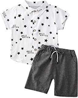 قطعتان أزياء / مجموعة الأطفال الرضع الرضع قميص نجوم زر سفلي + شورت كاجوال مع رباط ملابس الصيف ملابس عيد الميلاد