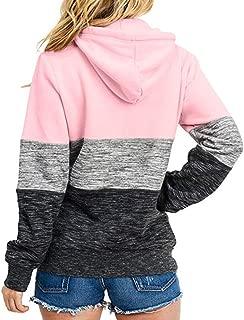 aihihe Women Hoodies Pullover Quarter Zip Color Block Drawstring Lightweight Sweaters Sweatshirt Tops with Pockets