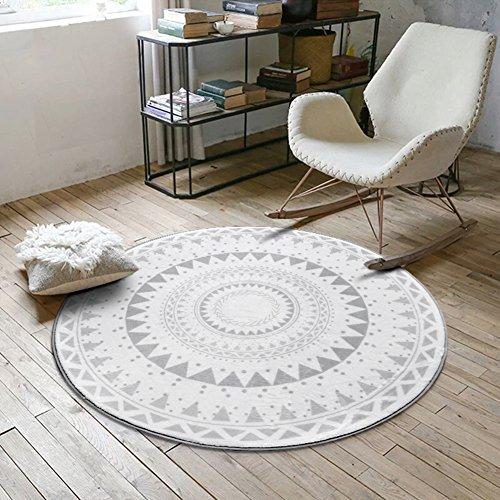 SangreAzul Nordischen Stil Moderne einfache wolldecke,Indoor Outdoor Bereich Teppich dauerhaft kleine Matte rechteck runden einfach sauber plüsch Teppich-C Durchmesser60cm(24inch)