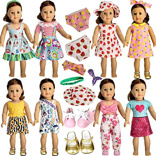 HOAKWA 18 Inch Doll Clothes and Accessories for American 18 Inch Girl Doll, American Doll Clothes Dress, Total 19 Pcs Including 8 Set of Clothing Outfits with Shoes, Underwear, Headband, and Cap