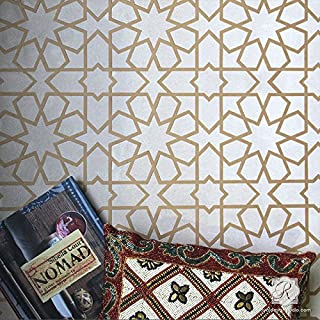 Rabat Moroccan Stencil - Wall Stencils - Tile Floor Stencils - Painting Floor Tiles Stencil - Bohemian Wallpaper Stencils