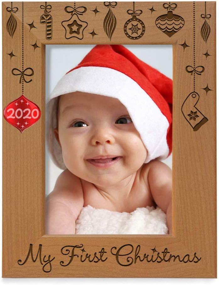 10 x 15 cm 1st 2020 Bilderrahmen mit eingelegter Aufschrift My First Christmas Kate Posh aus Naturholz