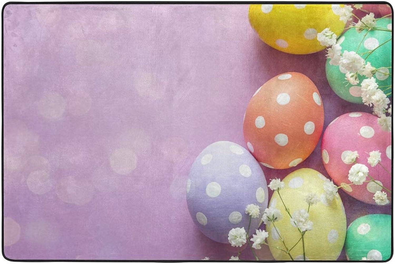 Easter Pink Background Dormat Decor Indoor Outdoor Welcome Door Anti Skid Mat Rug for Home Office Bedroom