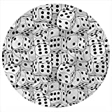 LCGGDB Casino Flannel Throw Blanket,Jumbled Monochrome Dices Printed Soft Receiving Blanket Baby Shower Swaddle Blanket for Crib or Stroller, Round 31.5 Inches